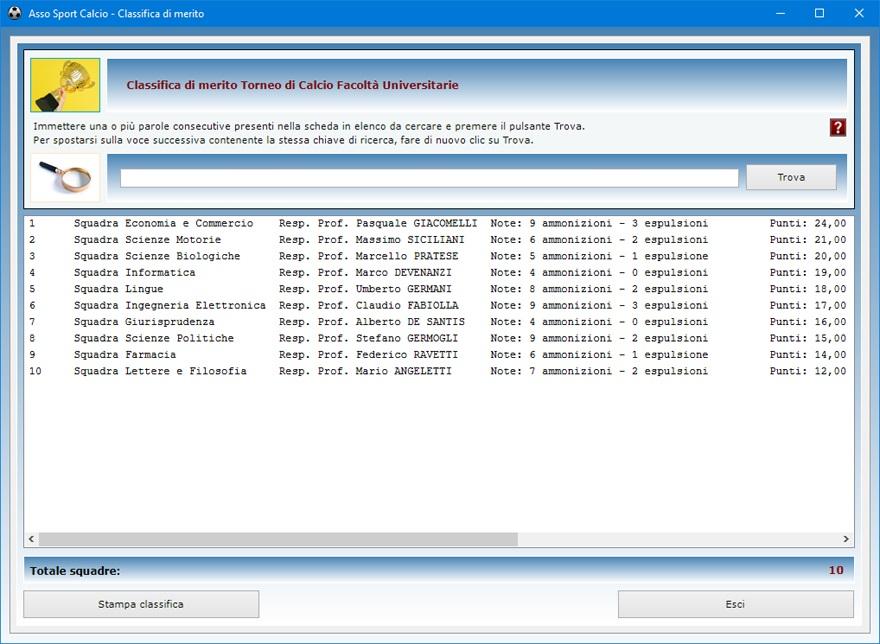 Asso sport calcio software per pianificare le attivit for Software gratuito per la costruzione della casa