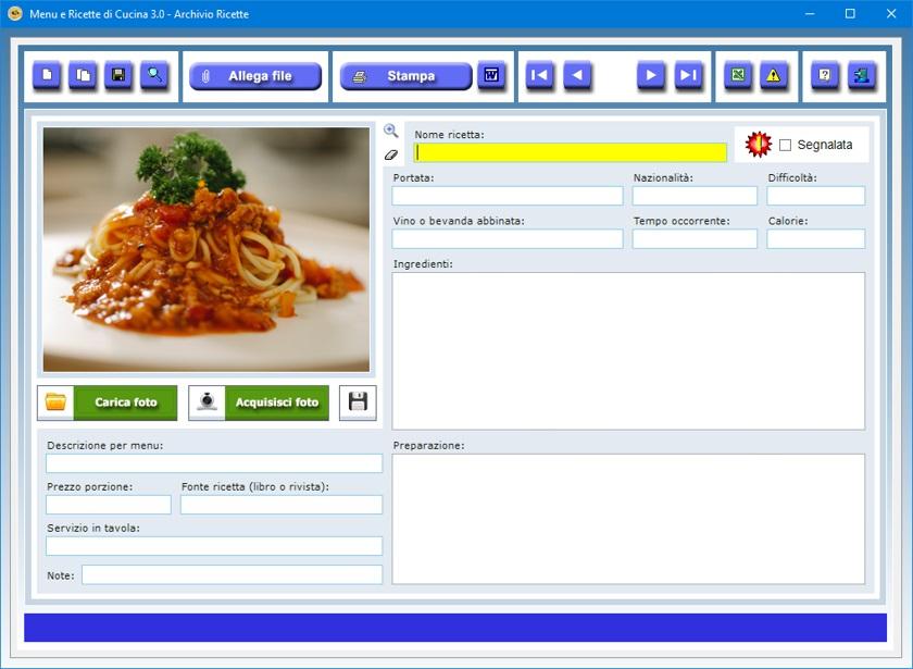 Menu e ricette di cucina 3 0 software rivolto agli for Ricette on line